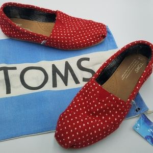 Tom's Red & White Polka Dot Canvas Slip On Flats